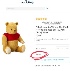 """Winnie The Pooh peluche Disney Store """"Ritorno al Bosco dei 100 Acri"""""""